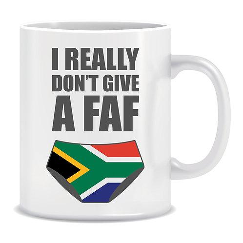 I Really Don't Give A Faf, Faf de Klerk, Underwear, Rugby, Sport, South African Flag, Printed Mug