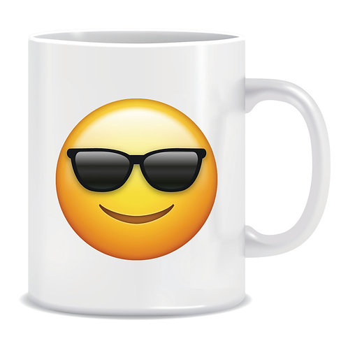 cool sunglasses emoji face printed mug