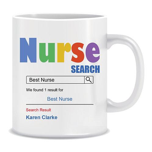 Nurse Search Name, Printed Mug