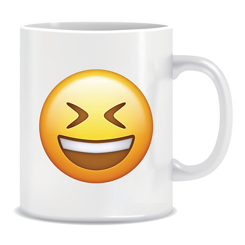 laugh emoji face printed mug
