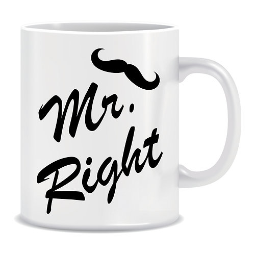 funny printed couple wedding mug mr right