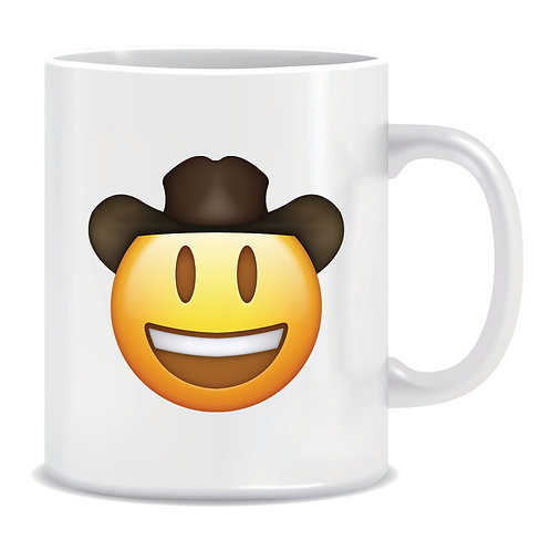 cowboy face emoji printed mug