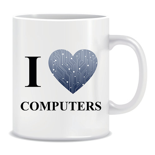 Funny Printed Mug I Love Computers