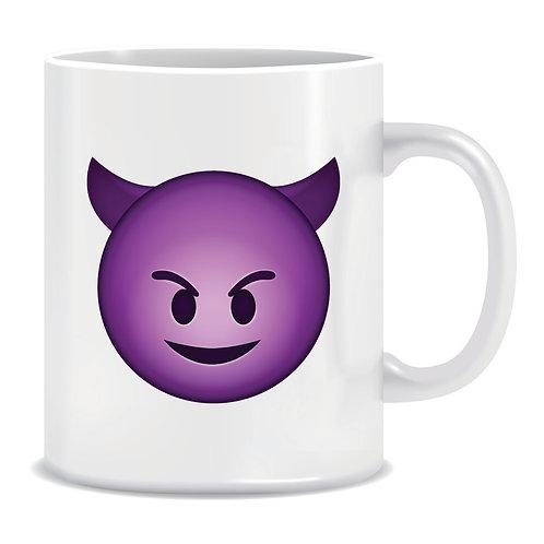 devil smile face emoji printed mug