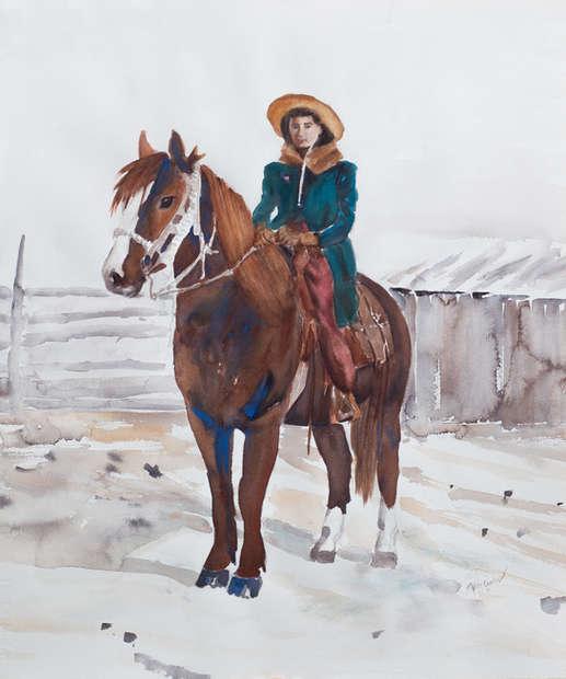 Mom Horseback In Winter_Watercolor_20x24