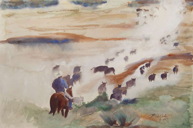 Cattle Over Moses Coulee - 30 x 20 (wate