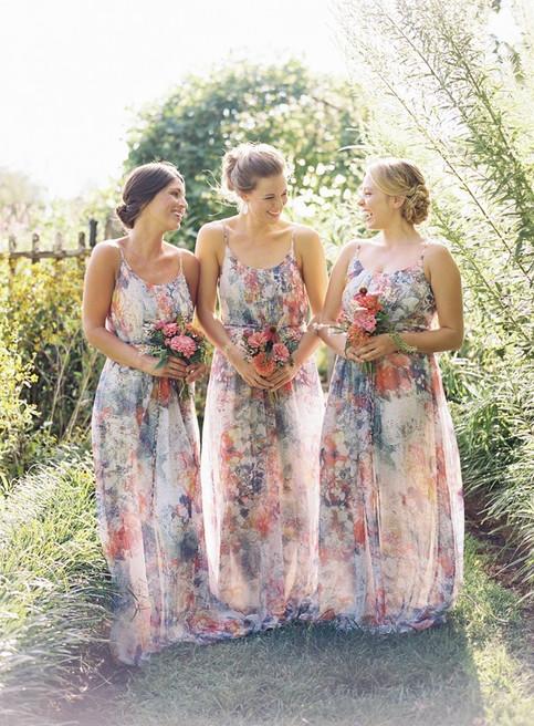 southern-wedding-floral-bridesmaid-dress