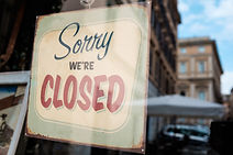 SORRY WE'RE CLOSED shop window door sign