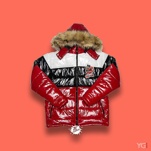 Black/Red Stack Season Bubble Coat