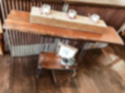 hairpin leg barnwood sofa table