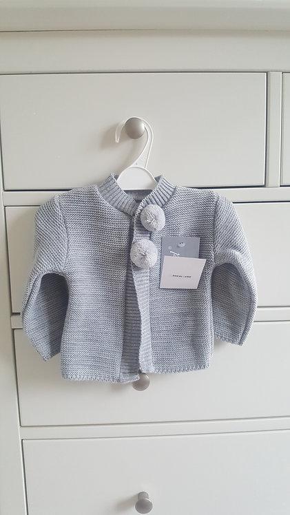 Grey Knitted Pom Pom Cardigan