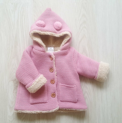 Chunky Knitted Pink Teddy Coat