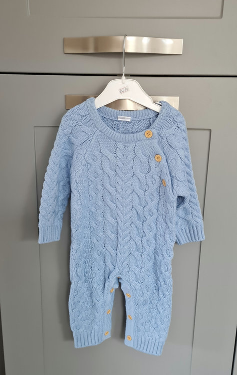 Blue Chunky Knitted Pramsuit