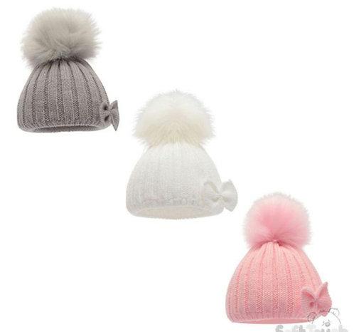 Knitted Bow Fluffy Pom Pom Hat
