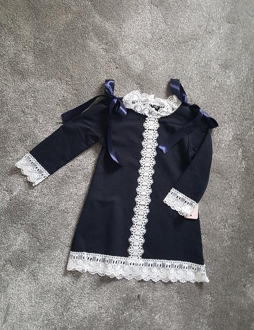 Navy Lace Ribbon Bow Dress