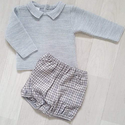 Knitted Jumper and Checked Shorts Set