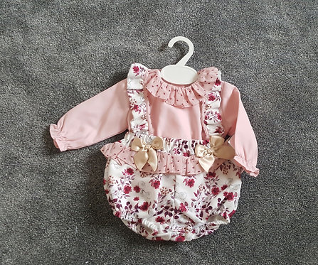 Pink Blouse & Floral Romper Bow Set