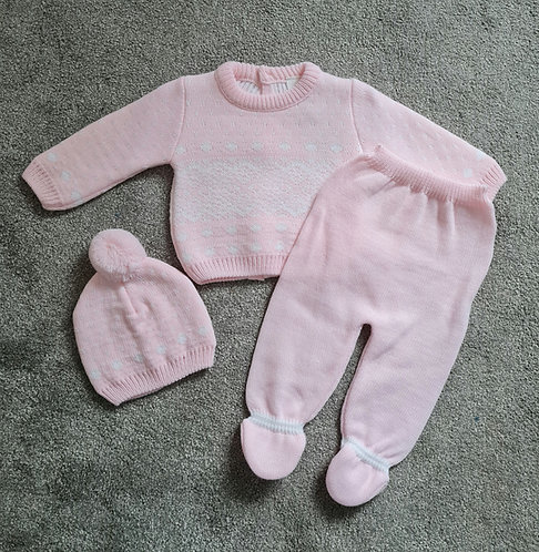 3 Piece Pink Winter Knitted Set