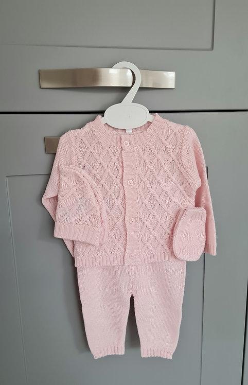Boxed Baby Pink Cardigan & Hat Set