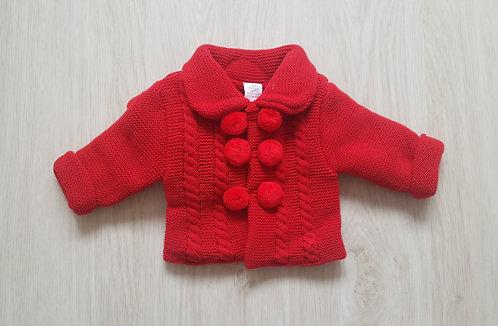 Red Pom Pom Chunky Jacket & Hat Set