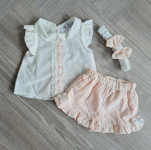 Cream & Peach Bow Broderie Shorts Set