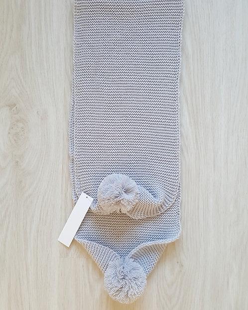 Grey Knitted Pom Pom Scarve
