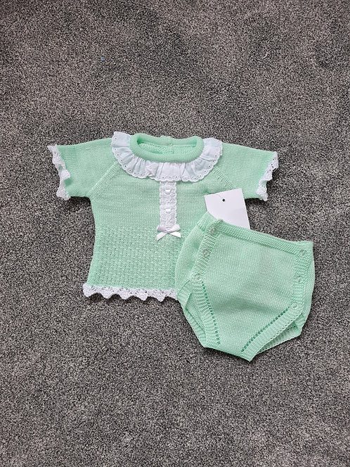 Mint Green Fine Knit Friily Collar Set
