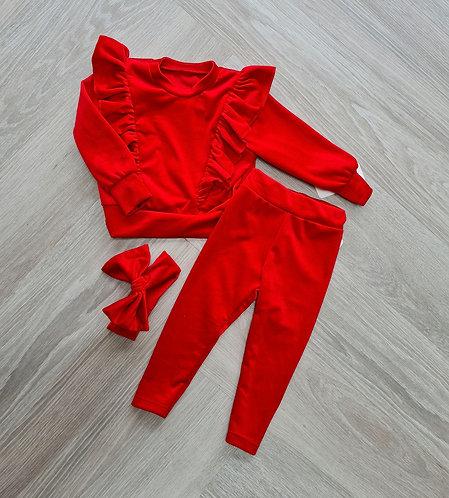 Red Super Soft Velour Lounge Set & Bow Headband