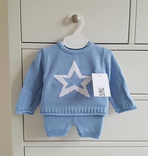 Blue Knitted White Star Set