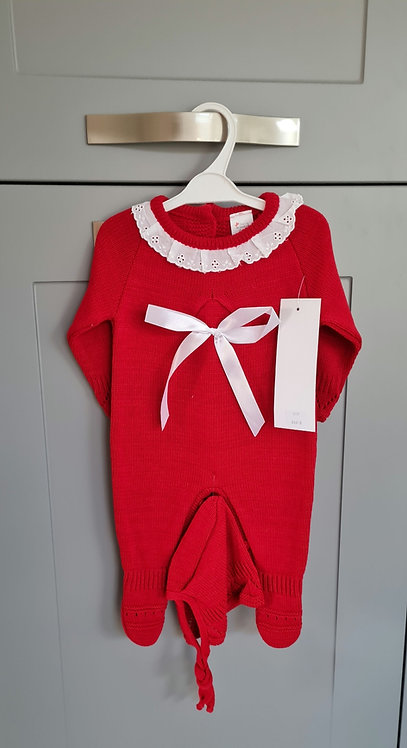 Red Knitted Ribbon Bow Sleepsuit & Bonnet