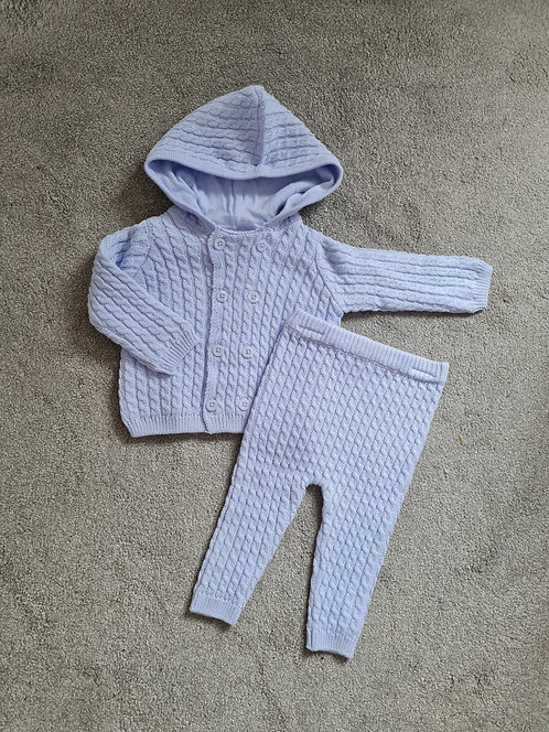 Pale Blue Cable Knitted Hooded Set