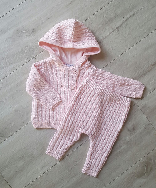 Pink Cable Knit Hooded Set