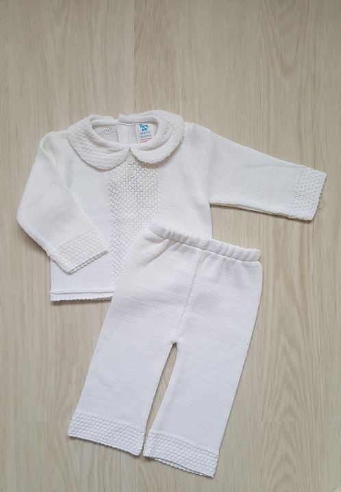 White Knitted 2 Piece Set