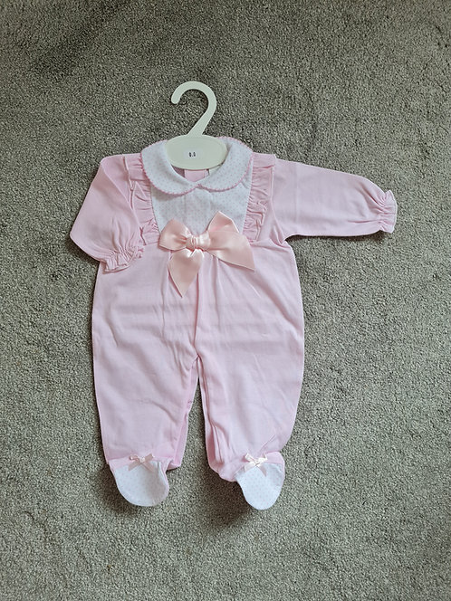 Baby Pink Bow Sleepsuit