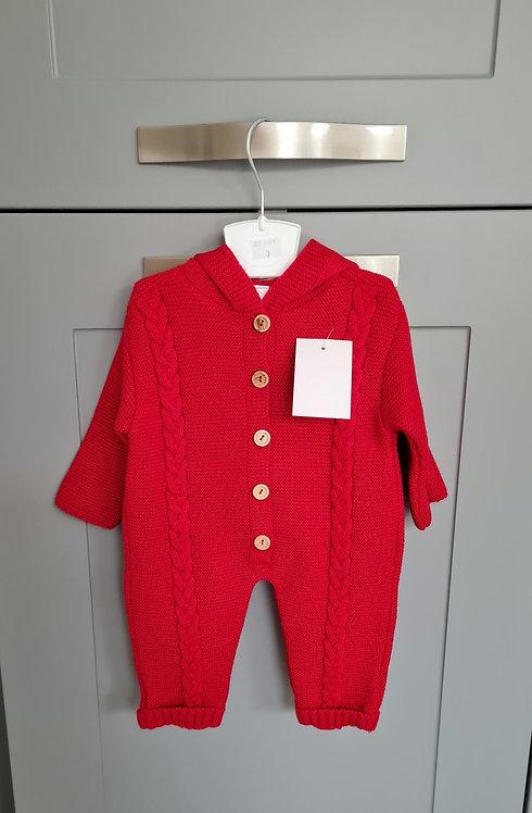 Red Knitted Pom Pom Hooded Pramsuit