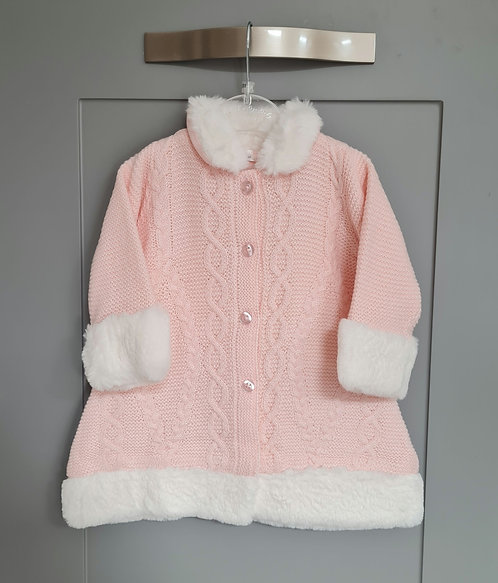 Baby Pink Knitted Jacket With White Faux Fur Trim