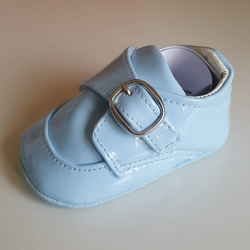 Baby Blue Soft Sole Patent Buckle Shoes
