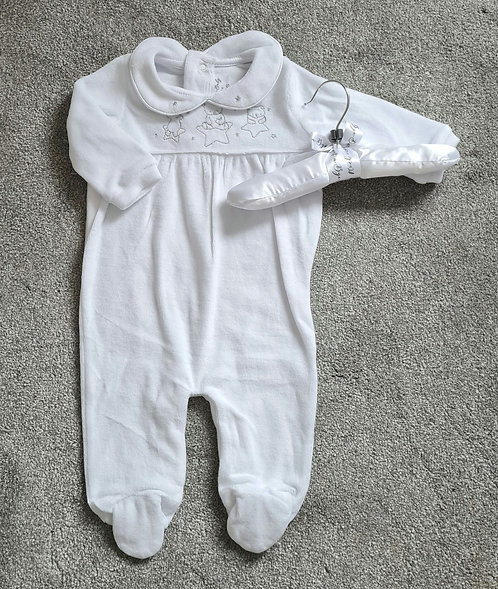 Unisex White Teddy Velour Sleepsuit