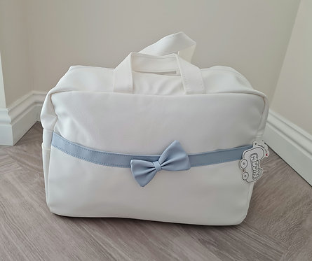 White & Blue Bow Changing Bag