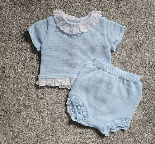 Spanish Blue Knitted Frill Bloomer Set