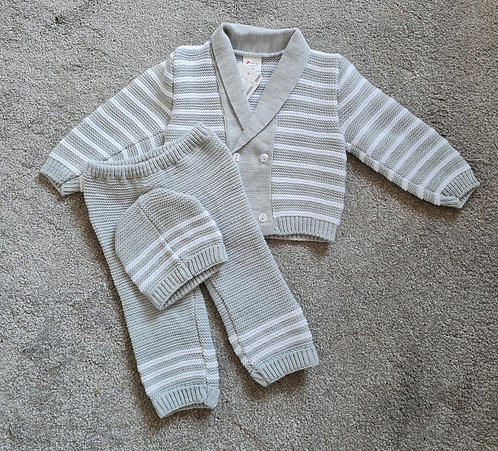 Grey & White Striped Thick Knitted Set