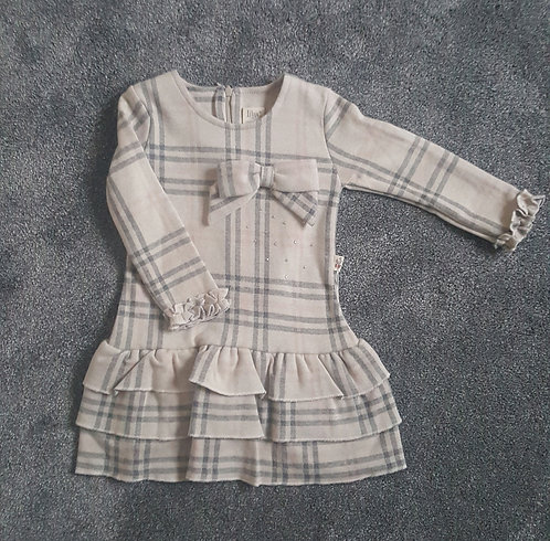 Cream Bow Checked Stud Frill Dress