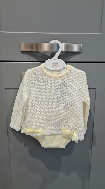 Pale Yellow Bow Bloomer Set
