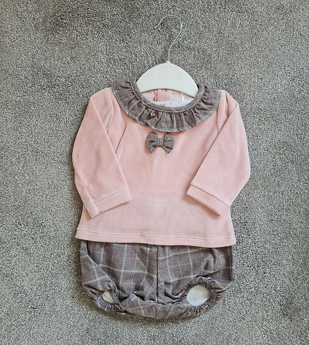 Pink Velour Top & Brown Checked Bloomer Set