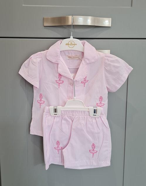 Pink Ballerina Embroidered Motif Pyjamas