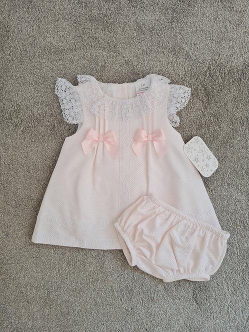Spanish Pale Pink Lace Trim Dress & Bloomer Set
