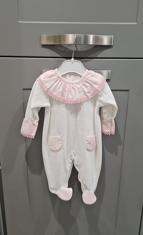 Cream / Pink Frilly Velour Sleepsuit