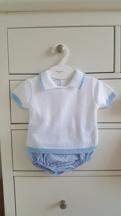 White Knitted Top & Blue Spotty Blommer Set