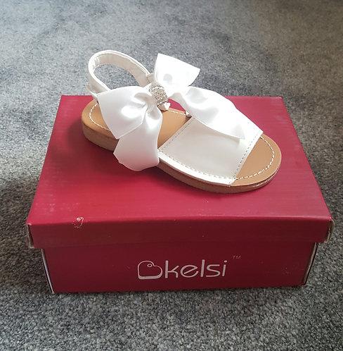 White Large Diamante Bow Sandals