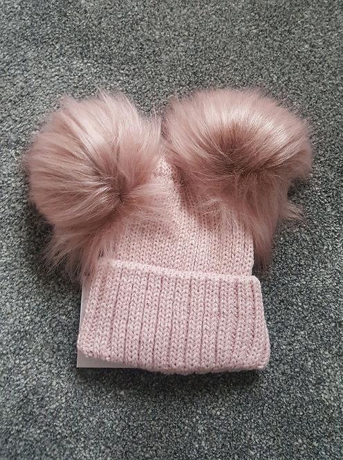 Rose Gold Double Fluffy Pom Pom Hat